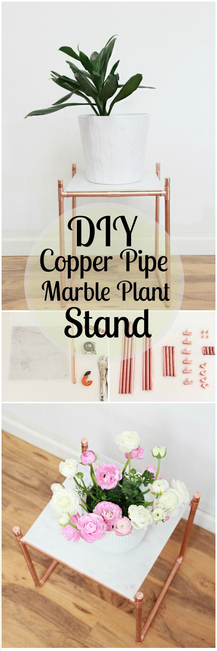 DIY Projects For The Home Decorations DIY Copper Pipe Marble Plant Stand