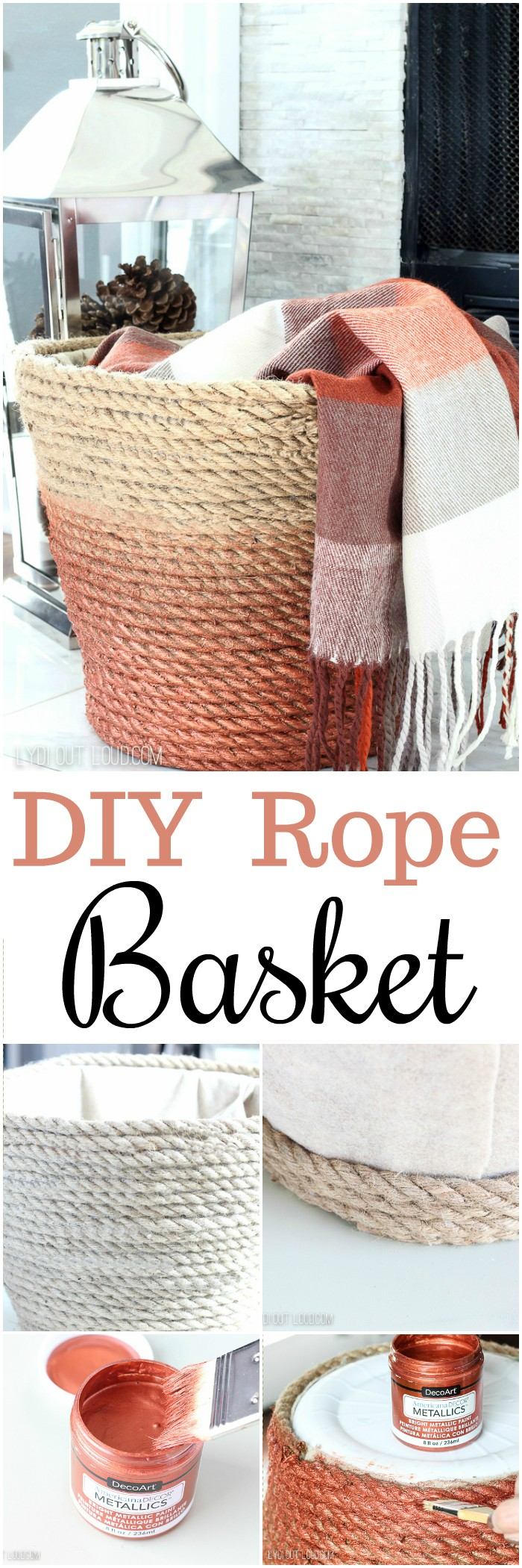 DIY Metallic Rope Throw Basket