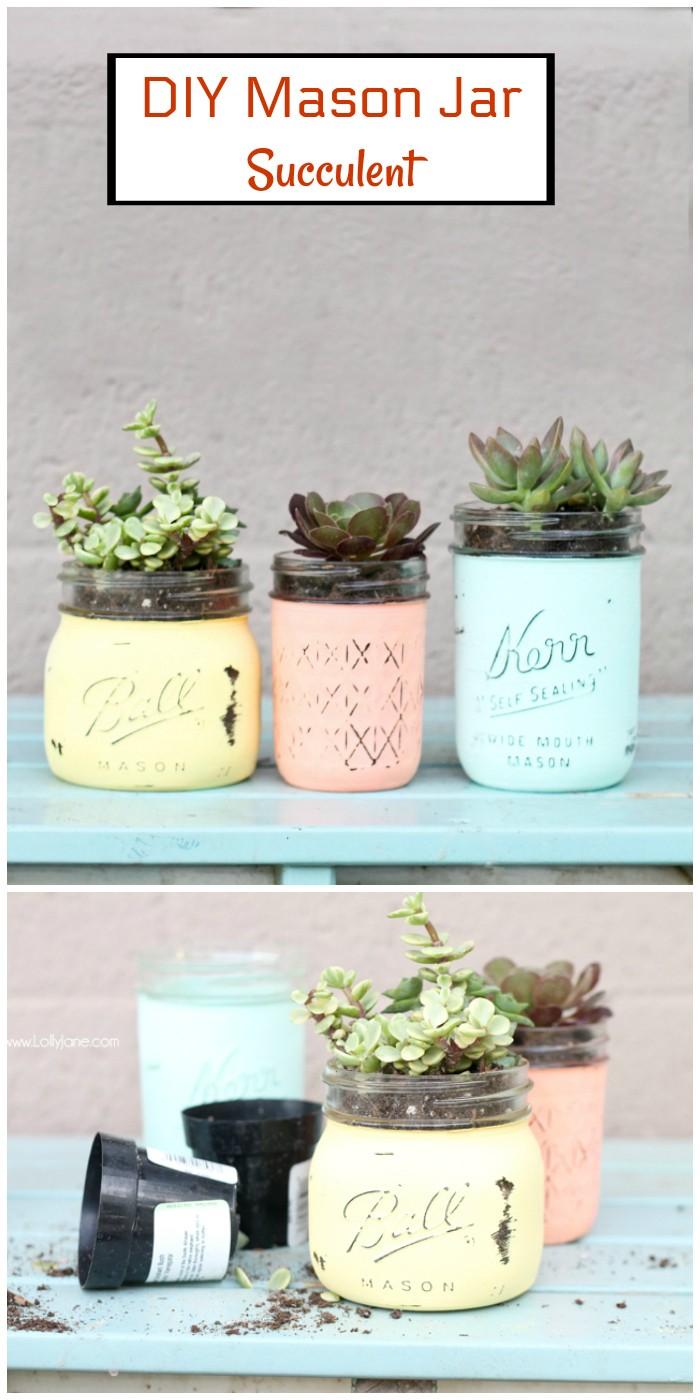 DIY mason jar succulent pots
