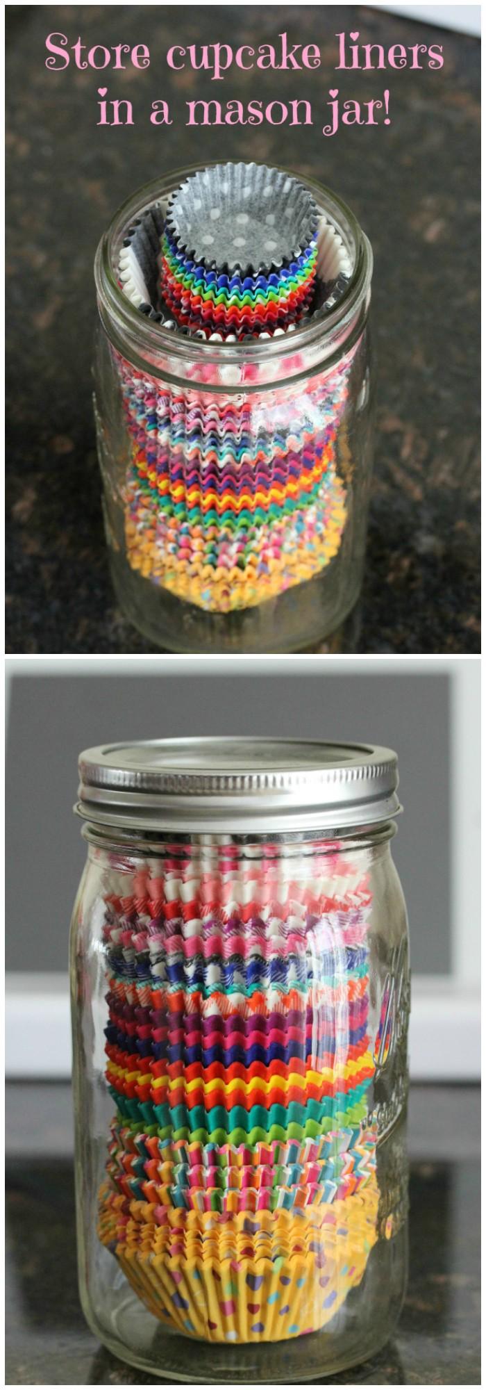 cupcake liners in a mason jar
