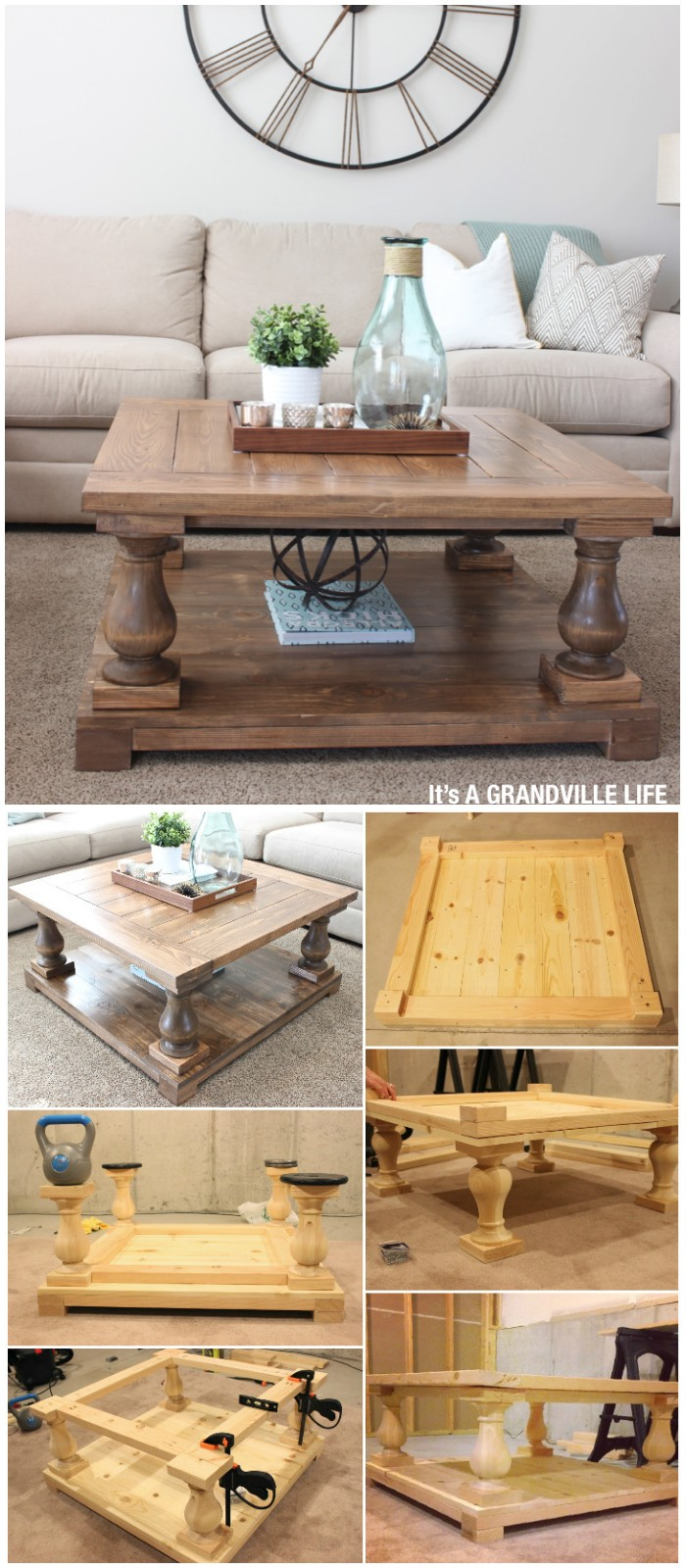 Balustrade DIY Coffee Table - Free Plans to Build a DIY Coffee Tables