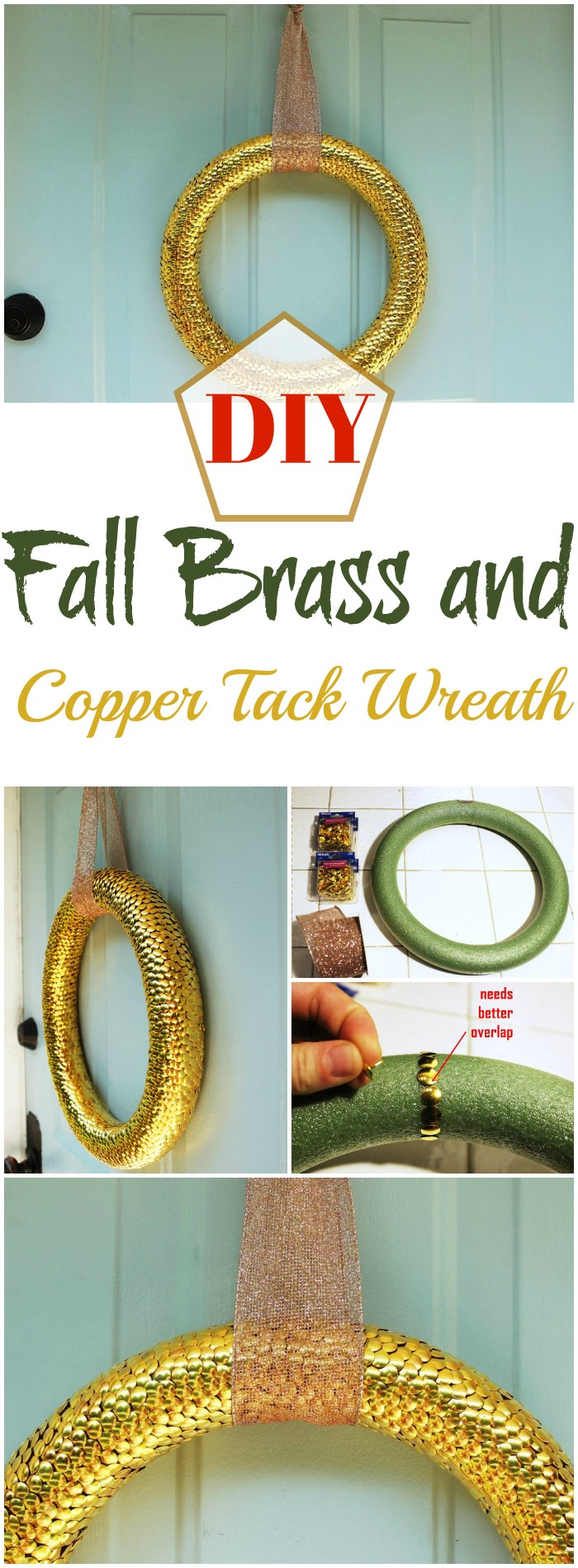 DIY Fall Brass and Copper Tack Wreath