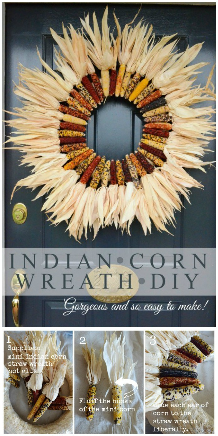 DIY Indian Corn Fall Wreath