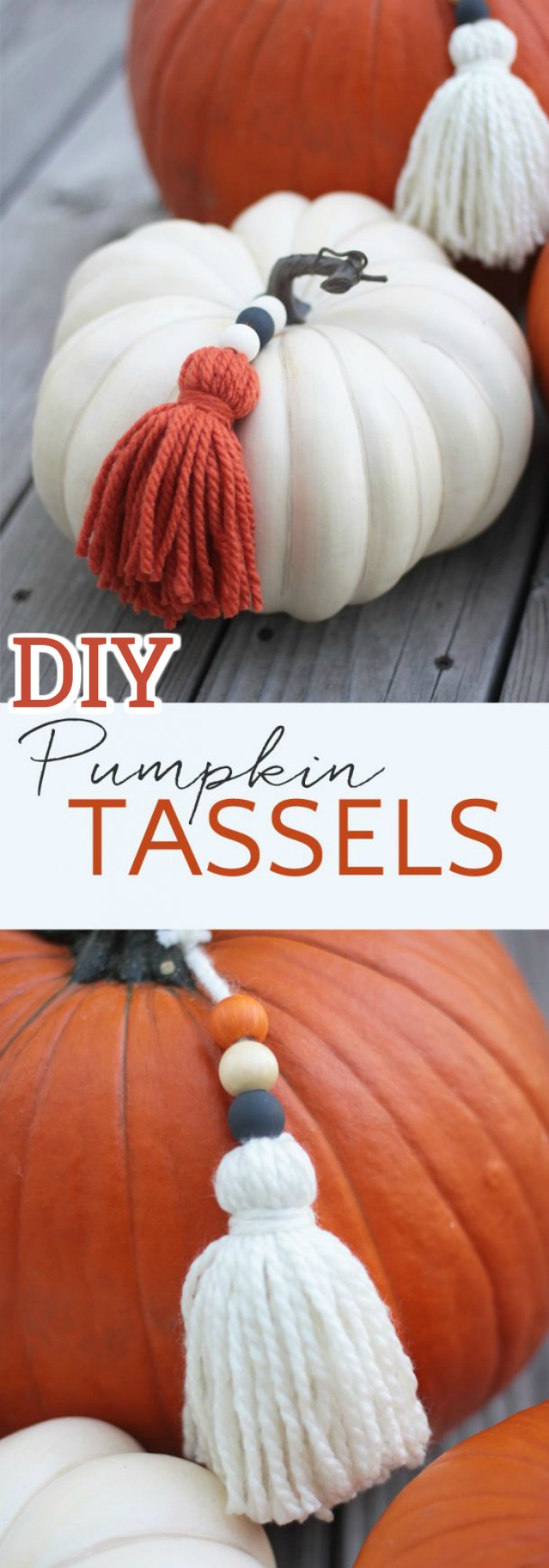 DIY Pumpkin Yarn Tassels
