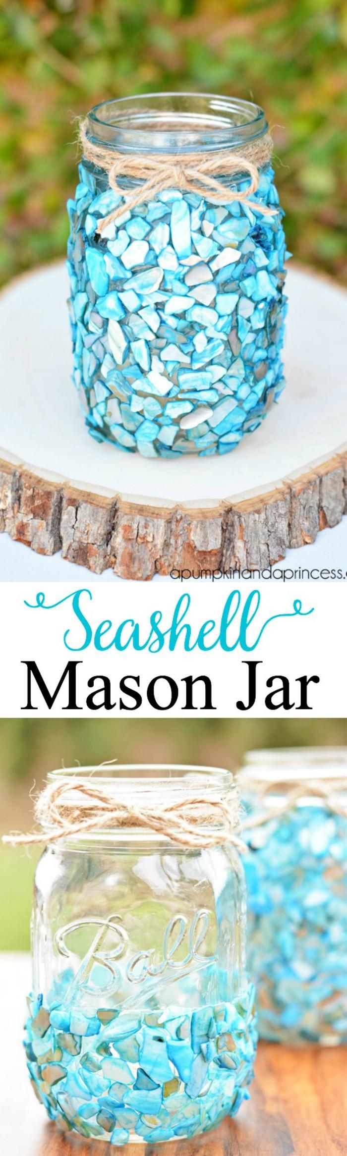 DIY Seashell Mason Jar DIY Home Decor Projects To Make Your Home Cute