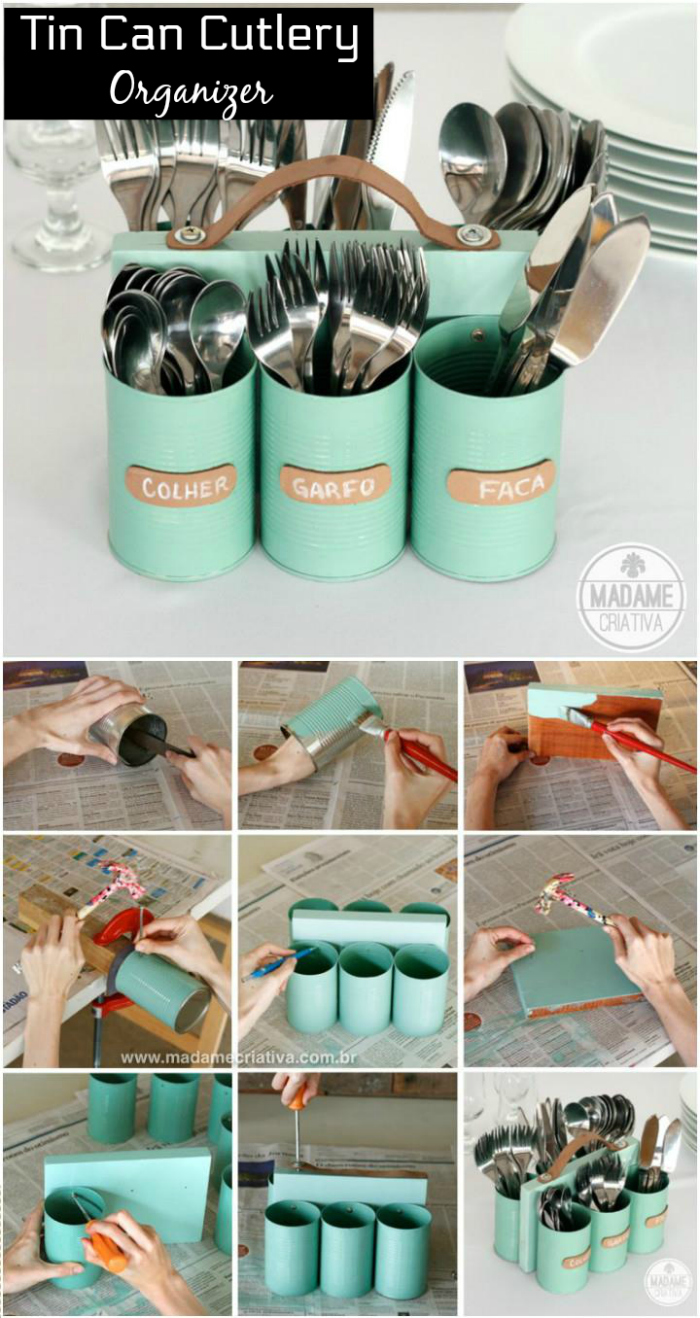 DIY Tin Can Organizer DIY Home Decor Projects To Make Your Home Cute