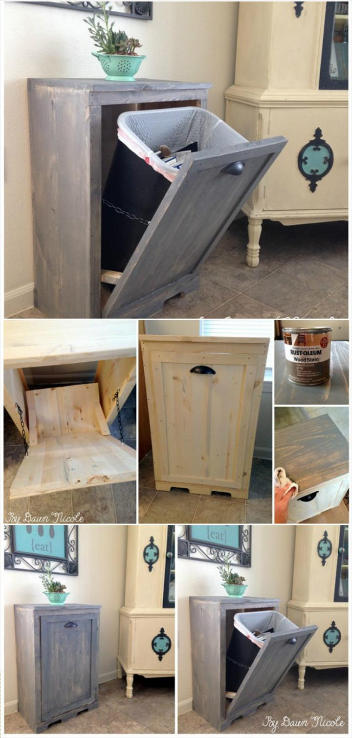 Hand-built wooden Tilt-out Trash Can Cabinet