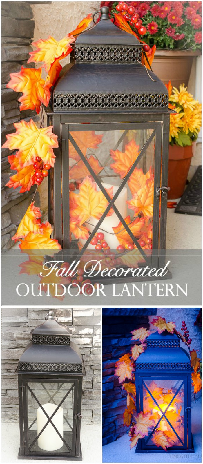 Fall Decorated Outdoor Lantern