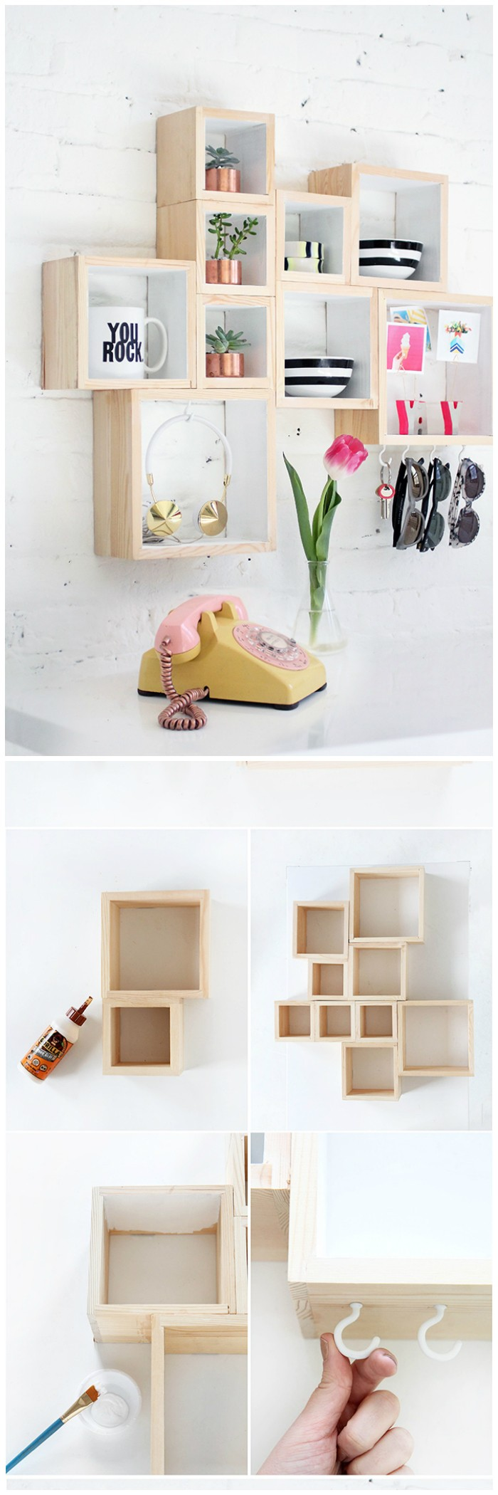 Geometrical Wall Shelves DIY Home Decor Projects To Make Your Home Precious