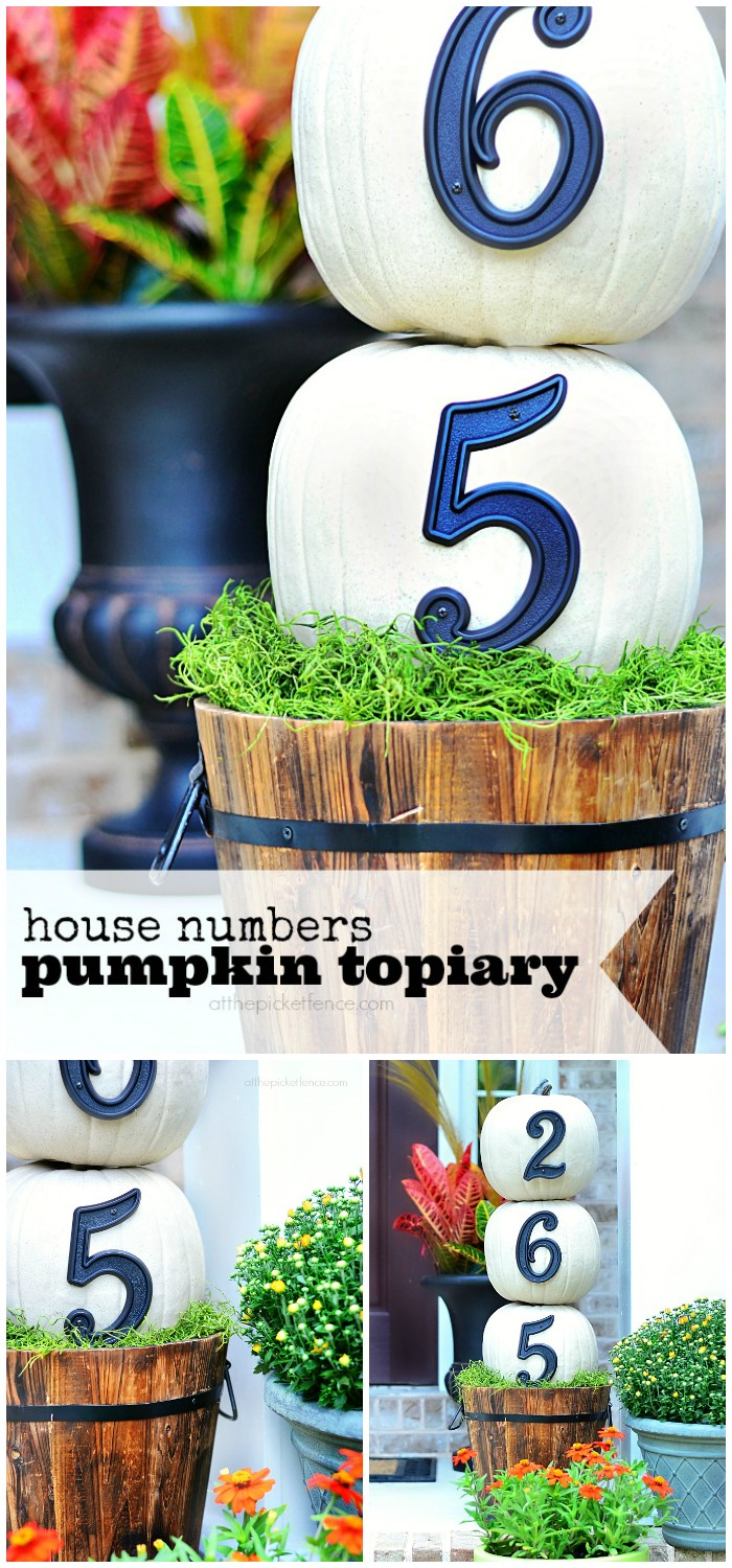 House Numbers Pumpkin Topiary 20 Amazing DIY Fall Porch Decor Ideas