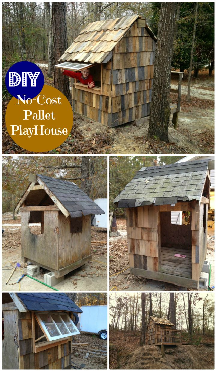 DIY No-Cost Pallet Playhouse