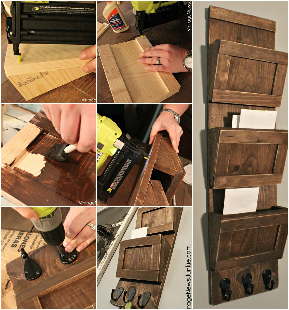 Self-Composed Wood Mail Organizer