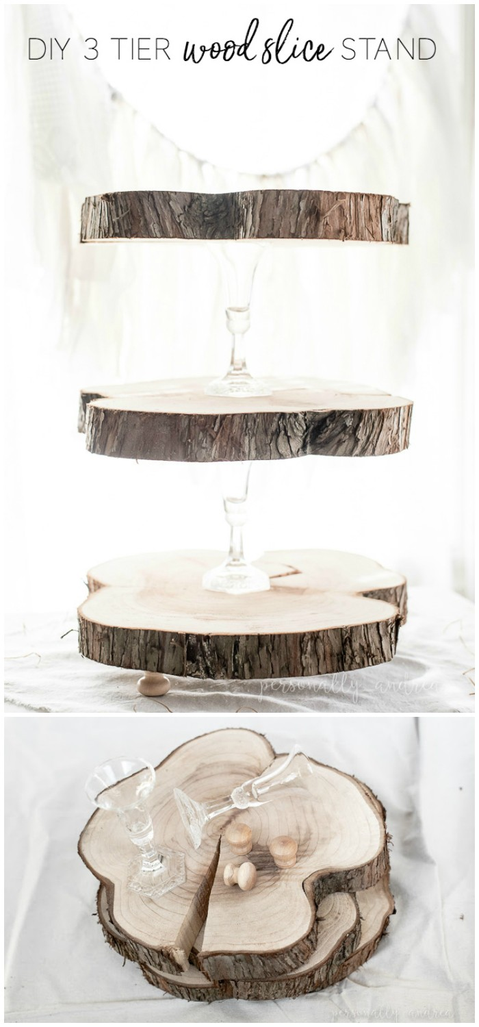 DIY Rustic Three Tier Wood Slice Stand