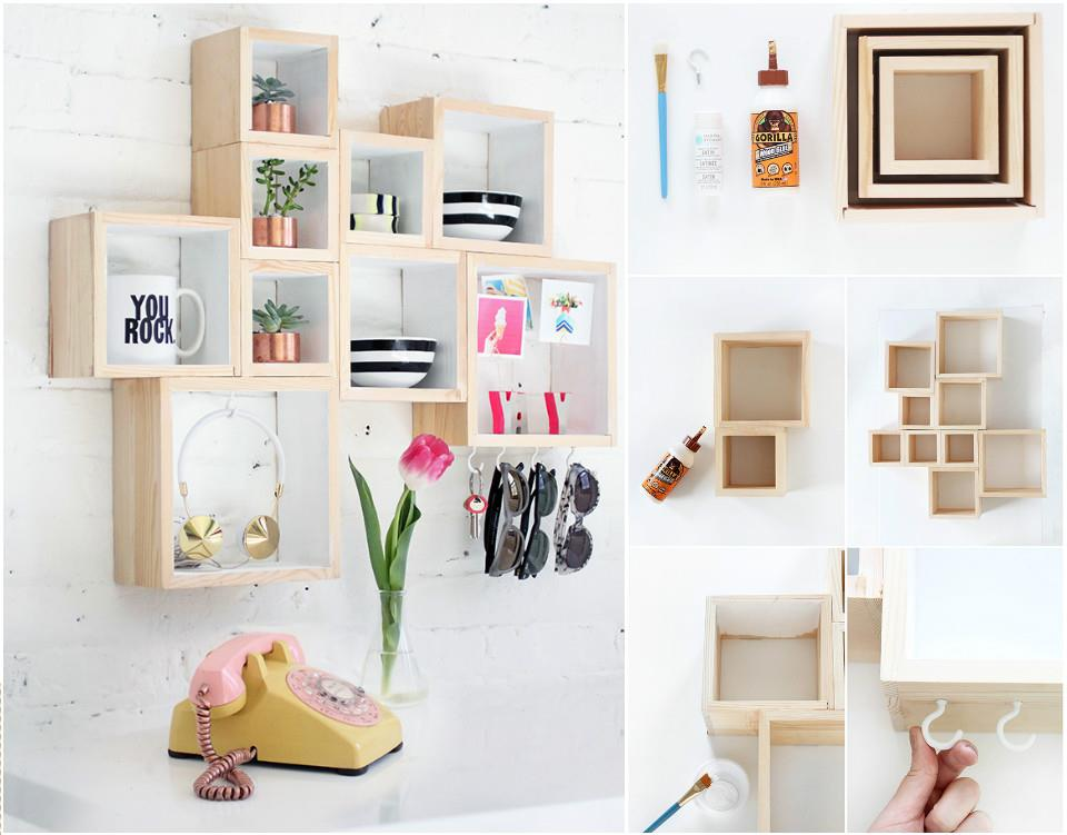 Wooden Boxes into Geometrical Wall Shelves
