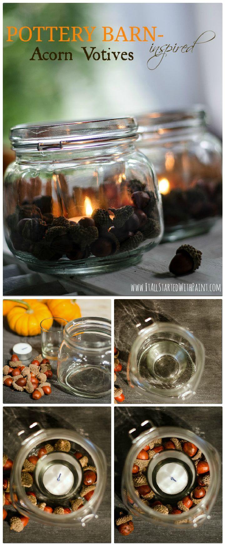 Acorn Mason Jar Votives - mason jar craft ideas | mason jar craft ideas diy | mason jar craft ideas christmas | mason jar craft ideas decor | mason jar craft ideas for kids