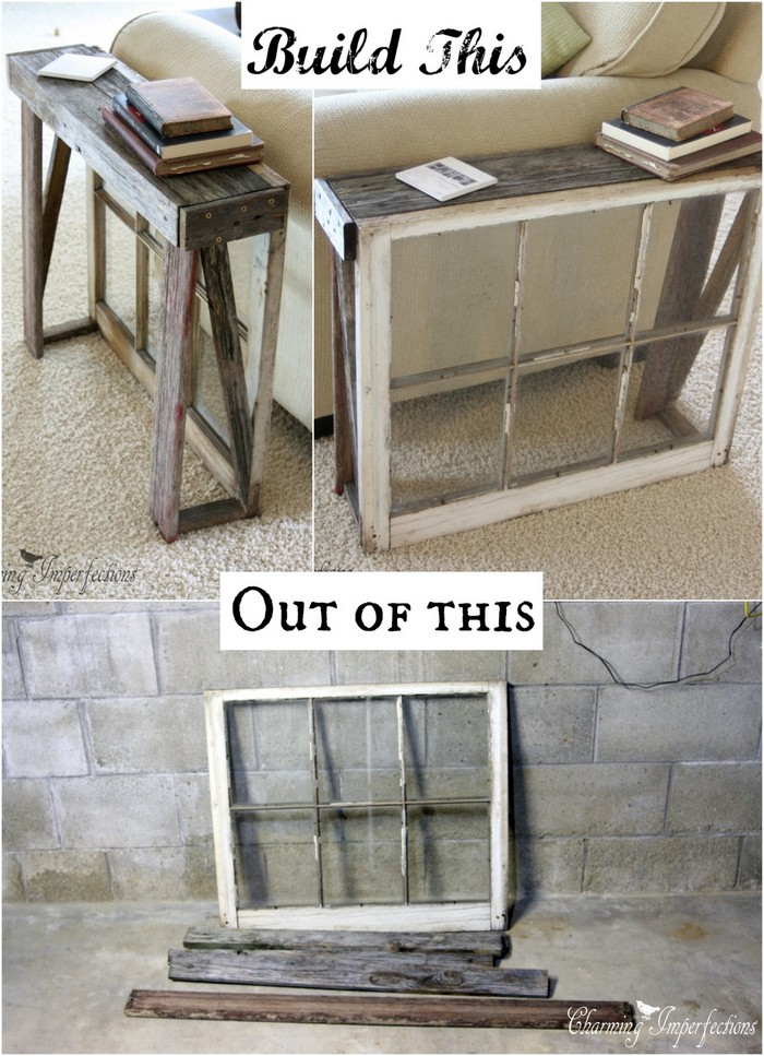 Antique Window Side Table 30 Creative Ways to Repurpose Old Windows