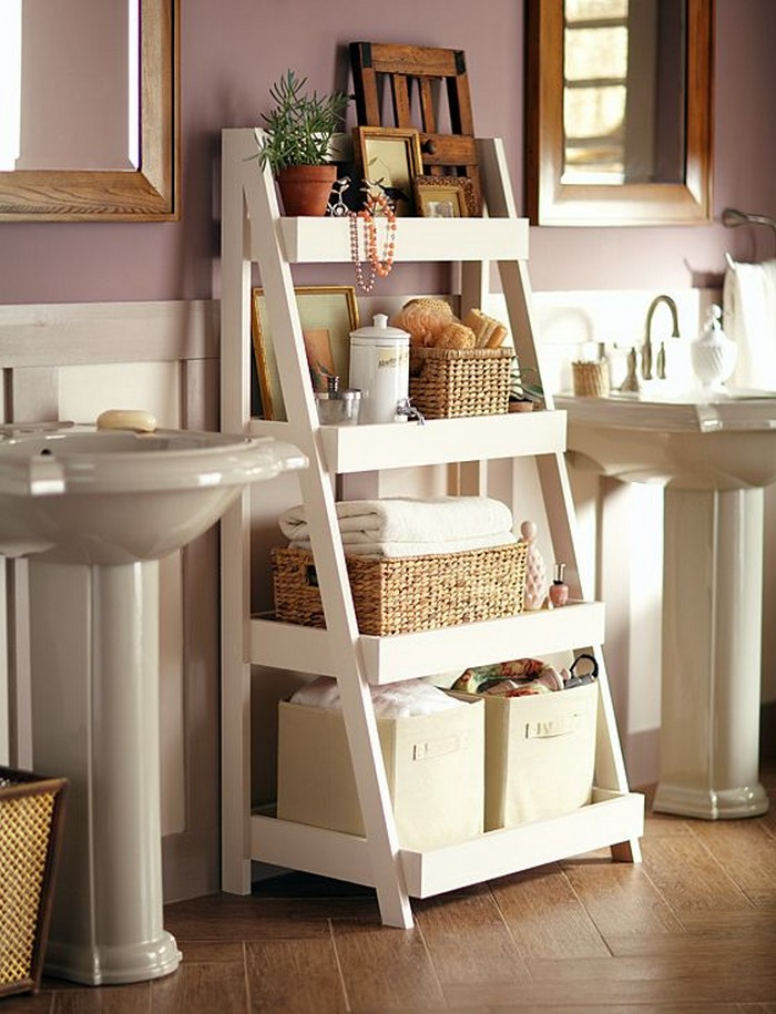 Bathroom Ladder Storage - Bathroom Organization