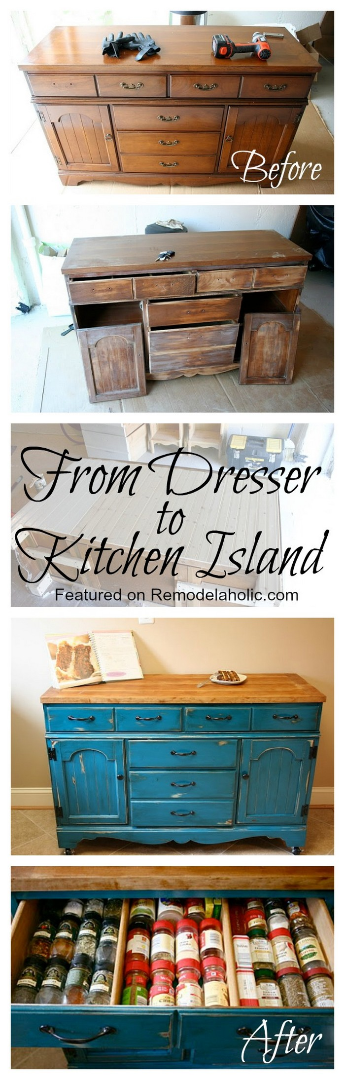 Colorful Dresser To Kitchen Island Upcycle Easy Kitchen Island Projects For You To DIY
