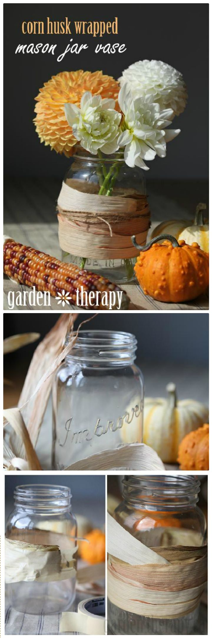 Corn Husk Wrapped Mason Jar - mason jar craft ideas | mason jar craft ideas diy | mason jar craft ideas christmas | mason jar craft ideas decor | mason jar craft ideas for kids