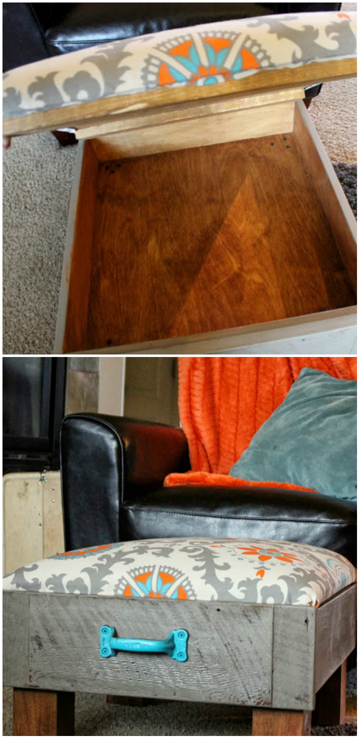 Cushioned Old Drawer into Footrest DIY Furniture Projects To Beautify Your Home