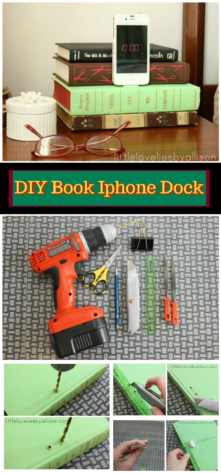 DIY Book iPhone Dock Tutorial 25 Cheap And Easy DIY Charging Station Ideas