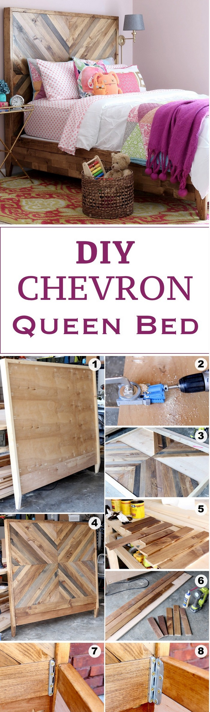 DIY Chevron Reclaimed Bed - diy bed frame - DIY Bed Plans -diy bed