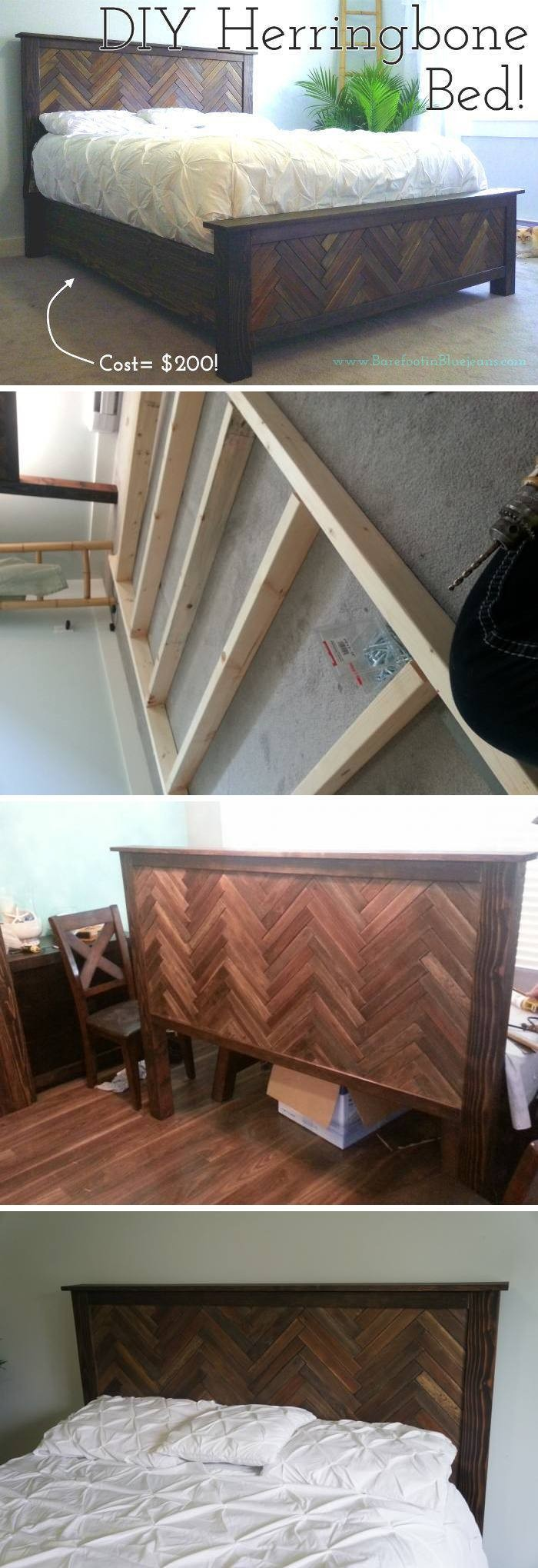 DIY Herringbone Bed Frame - diy bed frame - DIY Bed Plans -diy bed