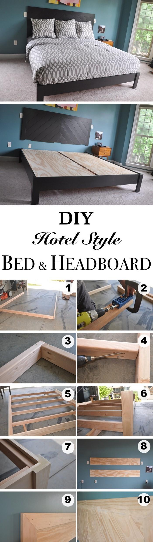 DIY Hotel Style Bed Frame - diy bed frame - DIY Bed Plans -diy bed