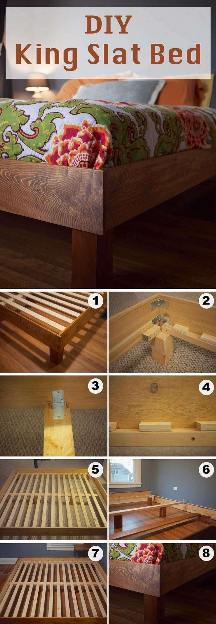 DIY King Slat Bed - diy bed frame - DIY Bed Plans -diy bed