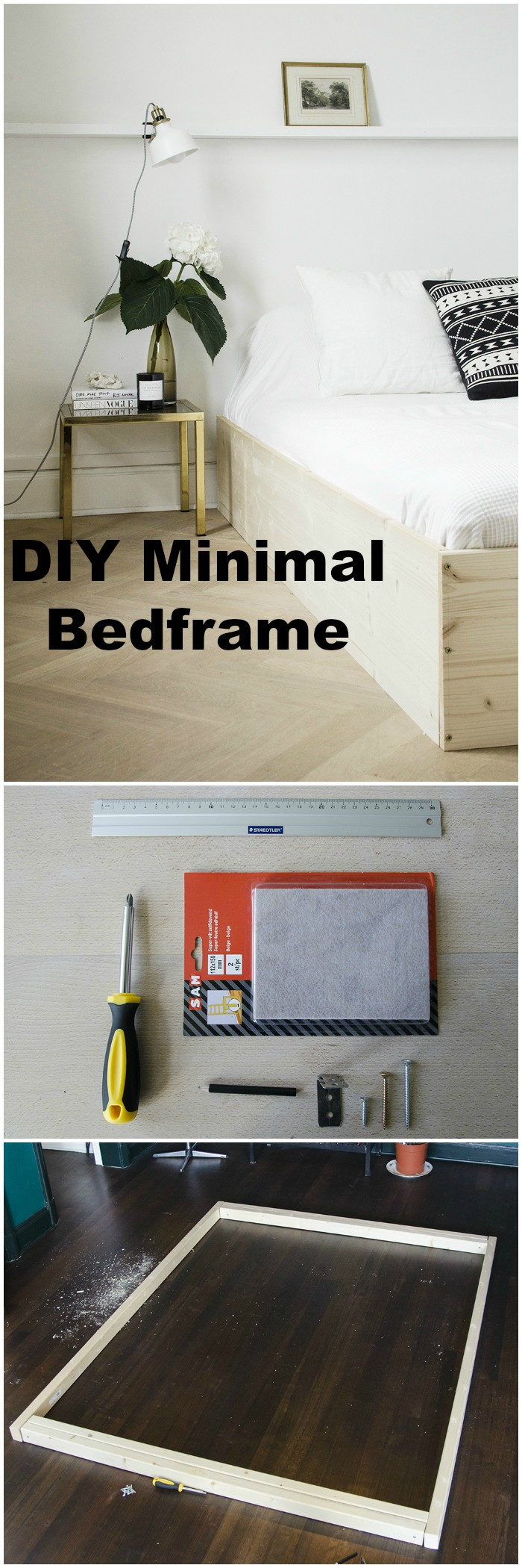 DIY Minimal Bedframe - diy bed frame - DIY Bed Plans -diy bed