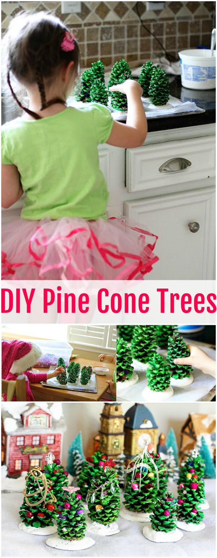 DIY Pine Cone Trees