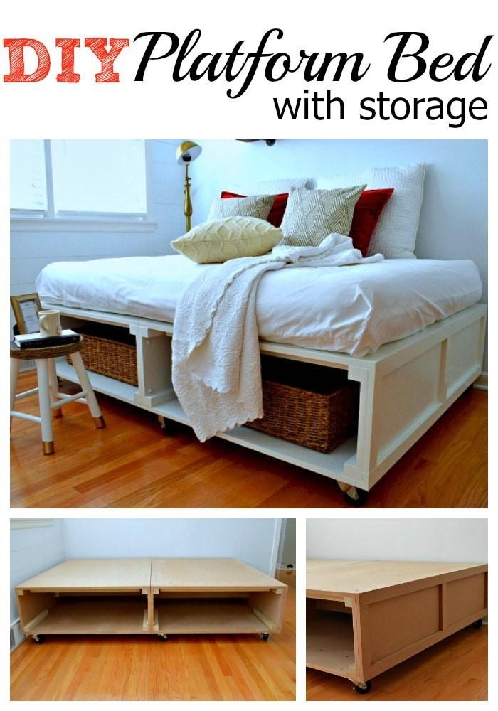 DIY Platform Bed with Storage diy bed frame - DIY Bed Plans -diy bed