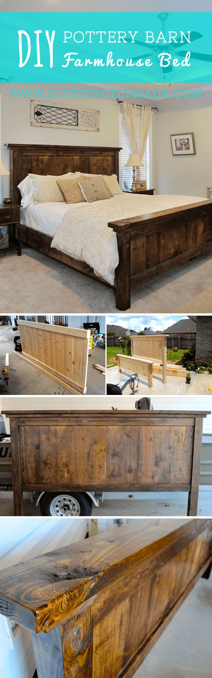 DIY Pottery Barn Farmhouse Bed - diy bed frame - DIY Bed Plans -diy bed