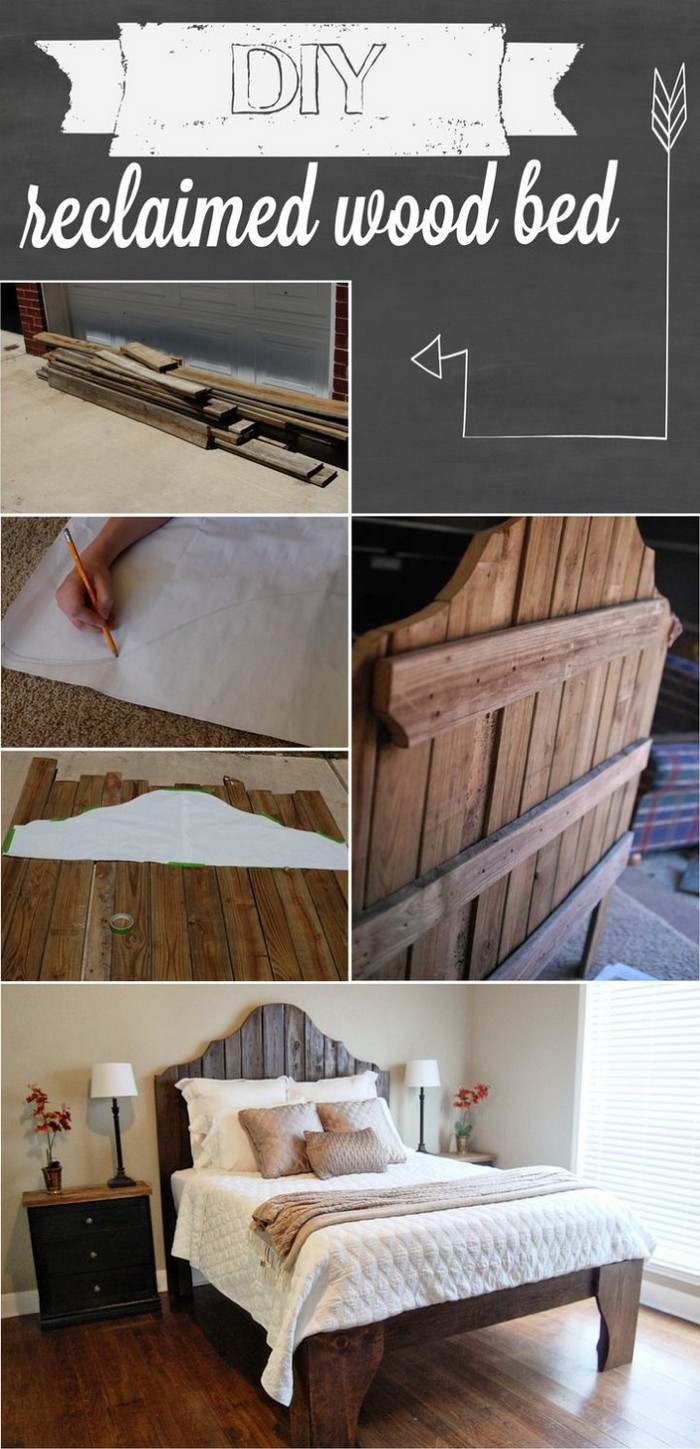 DIY Reclaimed Wood Bed - diy bed frame - DIY Bed Plans -diy bed