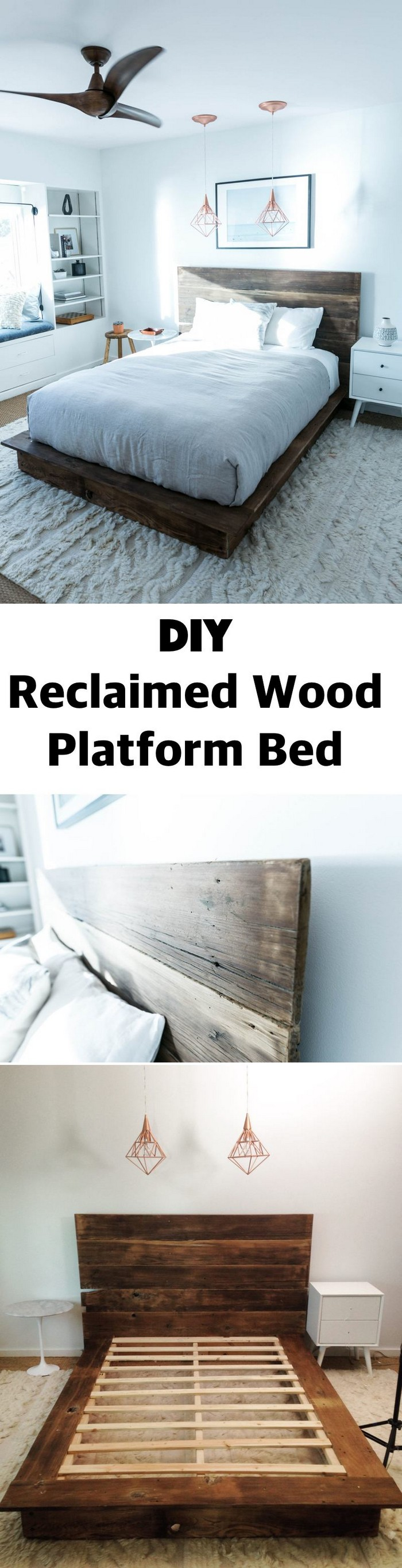DIY Reclaimed Wood Platform Bed - diy bed frame - DIY Bed Plans -diy bed
