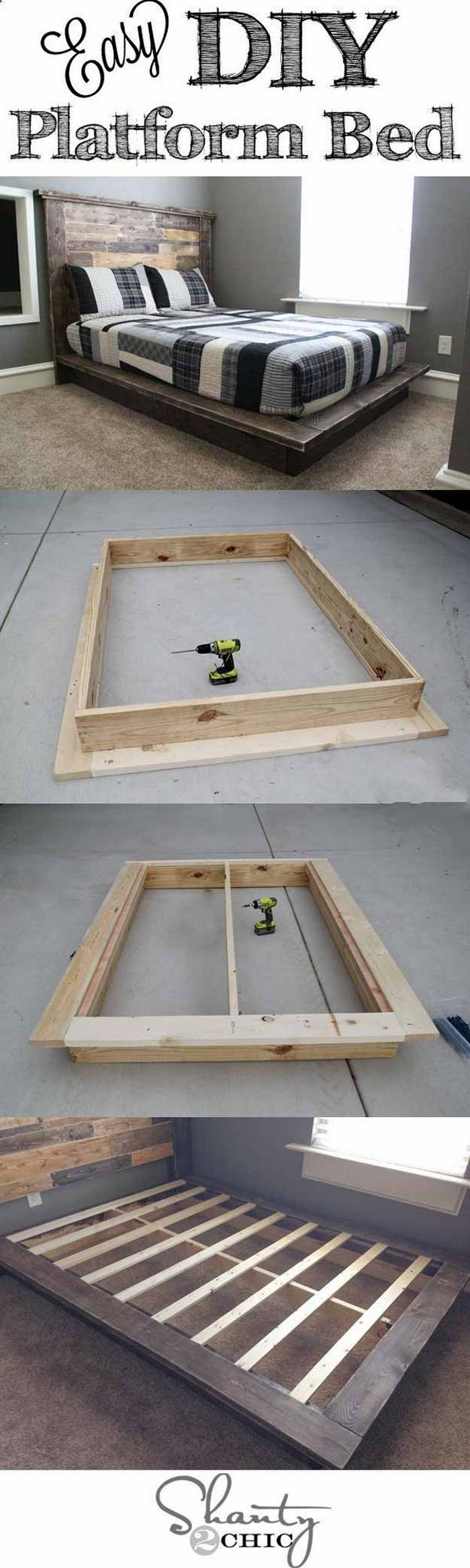 Easy DIY Platform Bed - diy bed frame - DIY Bed Plans -diy bed