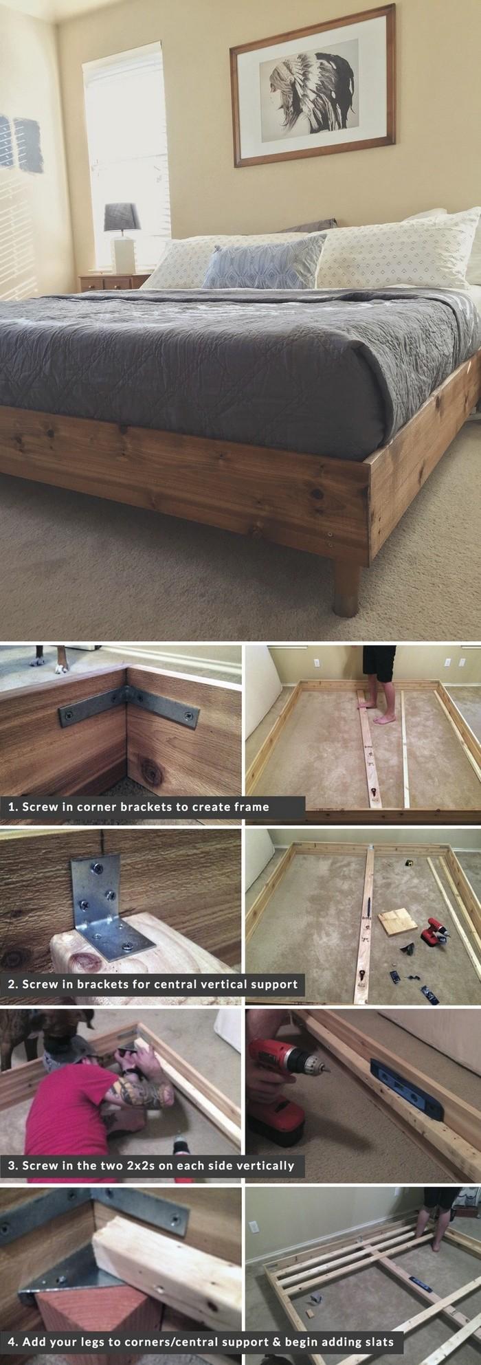 King Bed Frame DIY - diy bed frame - DIY Bed Plans -diy bed