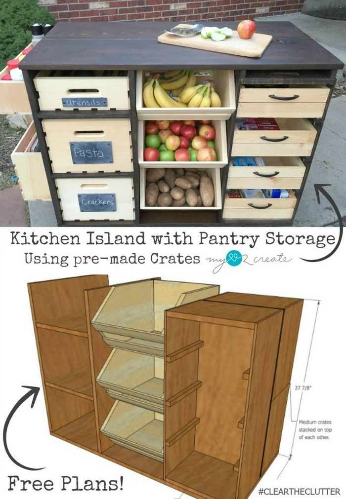 Kitchen Island with Pantry Easy Kitchen Island Projects For You To DIY