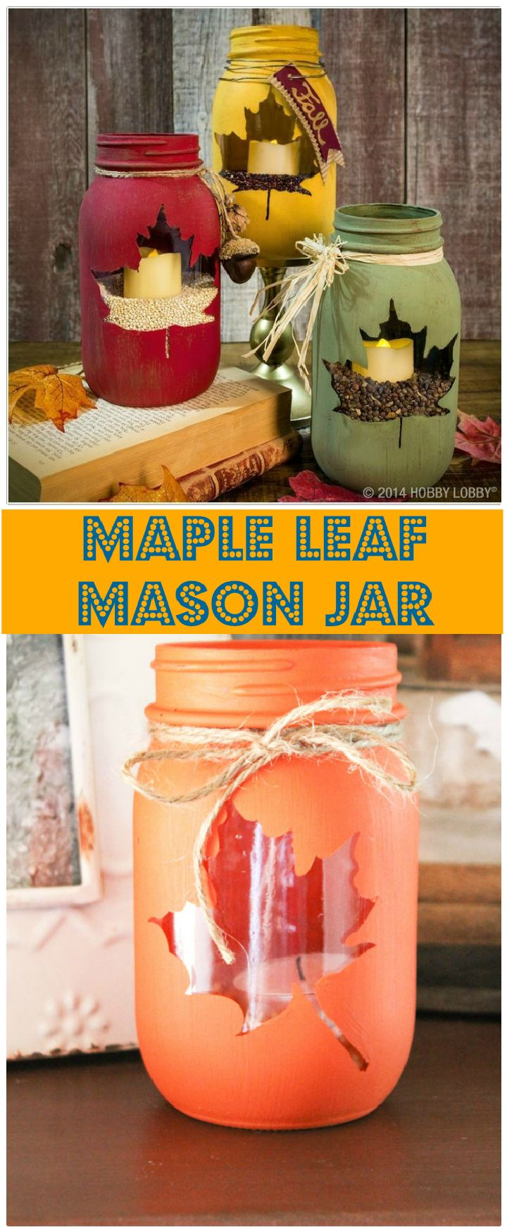 Maple Leaf Mason Jars - mason jar craft ideas | mason jar craft ideas diy | mason jar craft ideas christmas | mason jar craft ideas decor | mason jar craft ideas for kids