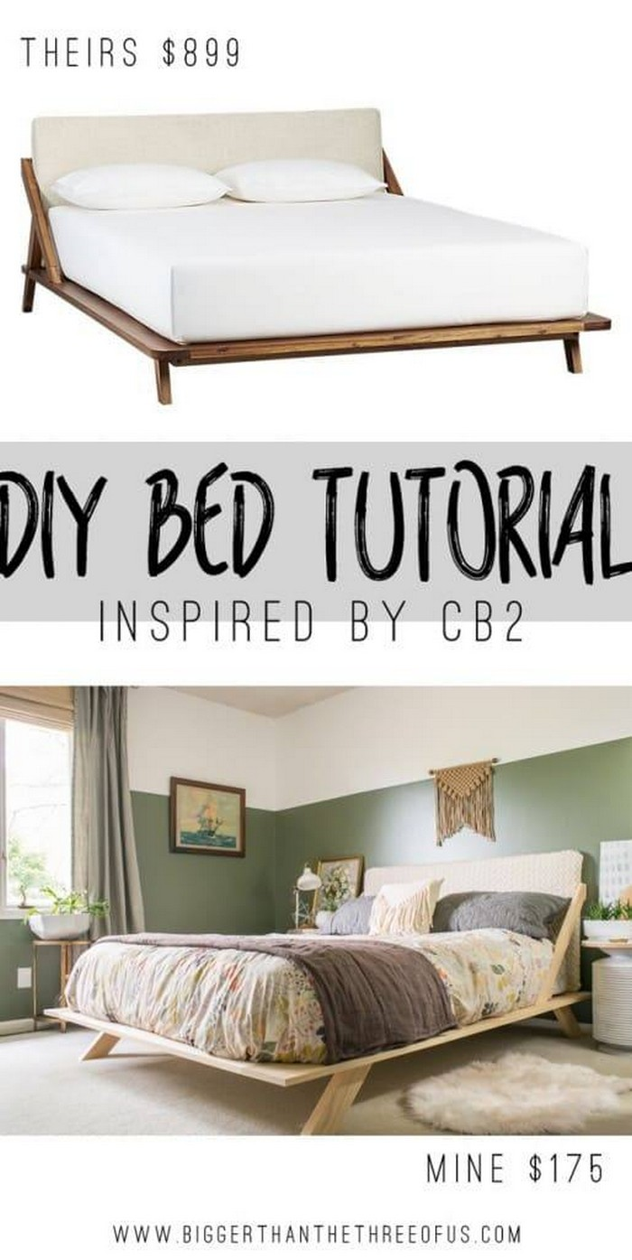 Mid-Century Inspired DIY Bed- diy bed frame - DIY Bed Plans -diy bed
