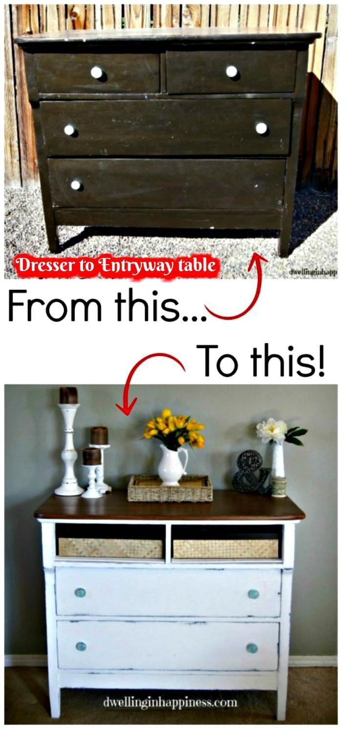 Old Dresser Into Entryway Table DIY Entry Table Ideas To Make Your Entryway Perfect
