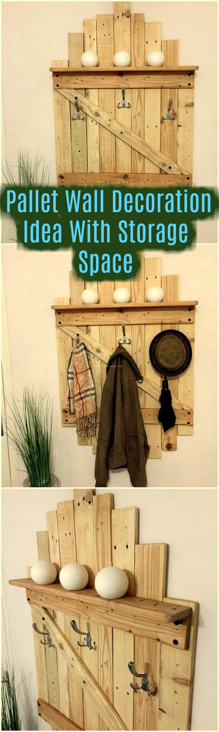 Pallet Wall Decoration Idea With Storage Space pallet crafts | pallet crafts diy |