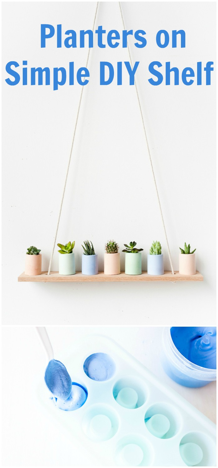 Planters on Simple DIY Shelf
