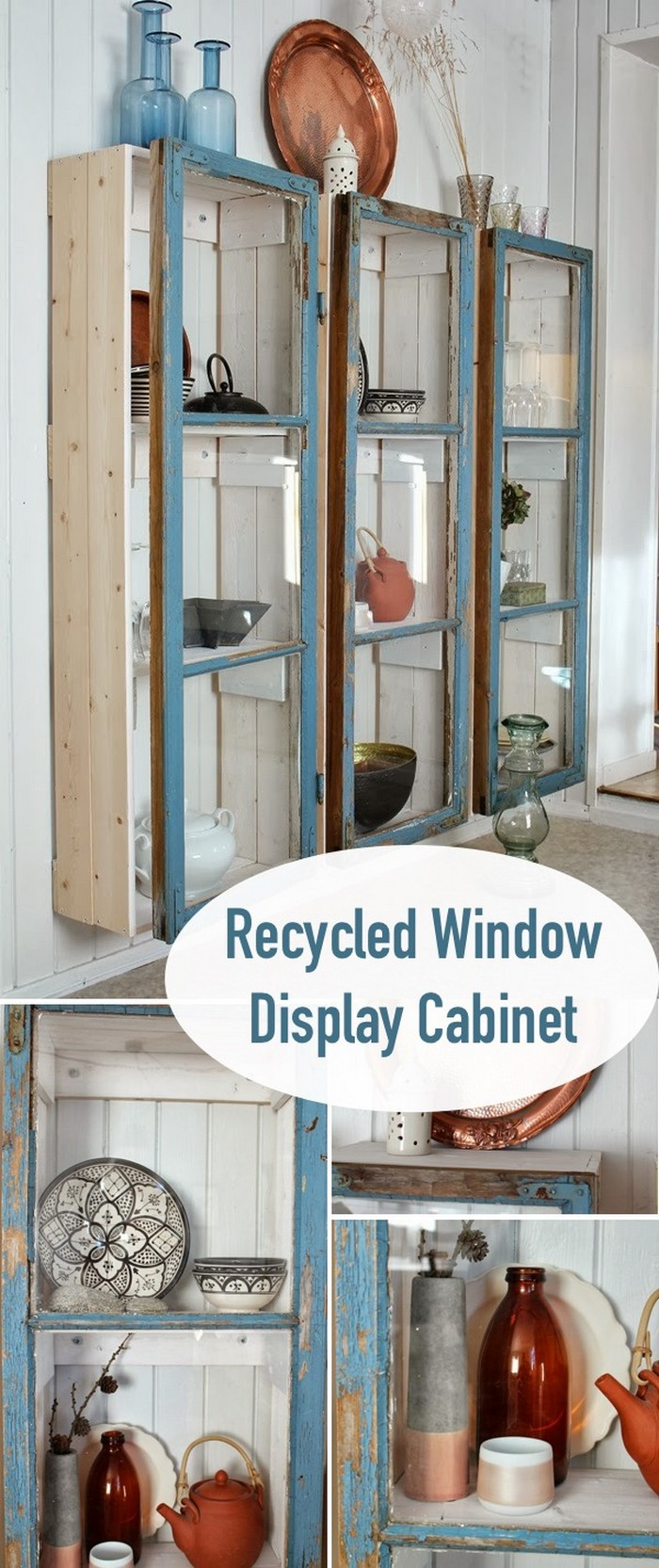 Recycled Window Display Cabinet 30 Creative Ways to Repurpose Old Windows