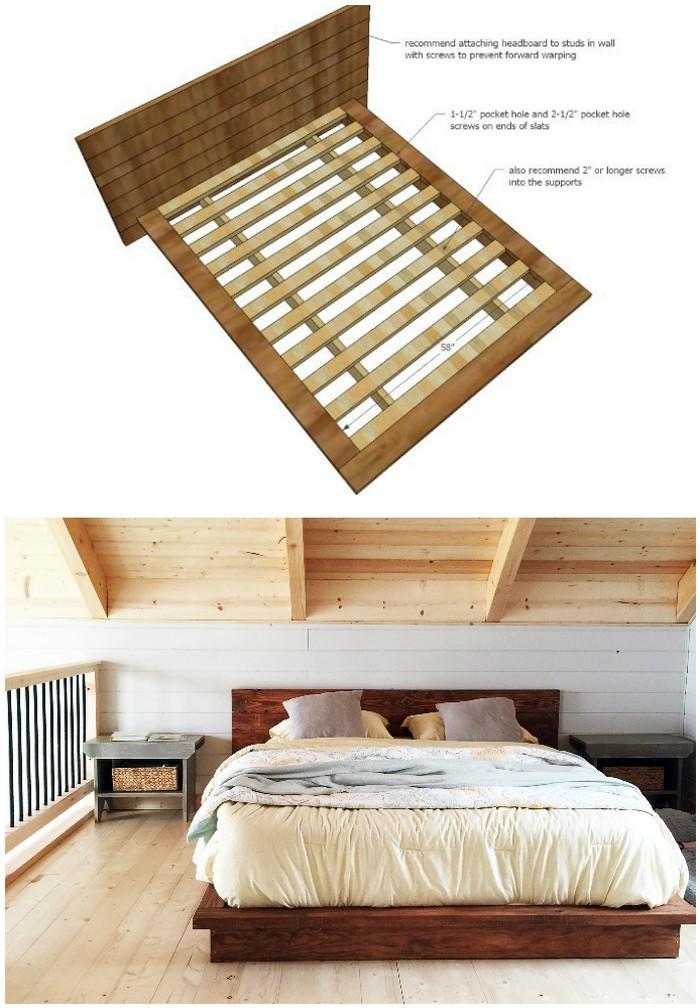 Rustic Modern Platform Bed - diy bed frame - DIY Bed Plans -diy bed