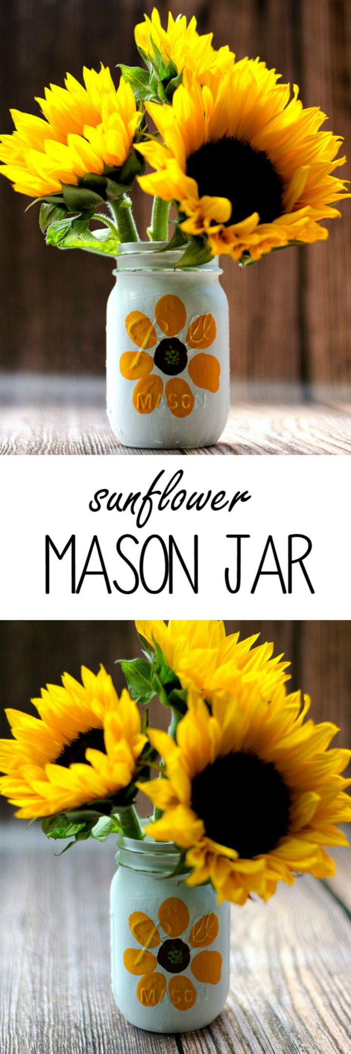 Sunflower Mason Jar - mason jar craft ideas | mason jar craft ideas diy | mason jar craft ideas christmas | mason jar craft ideas decor | mason jar craft ideas for kids