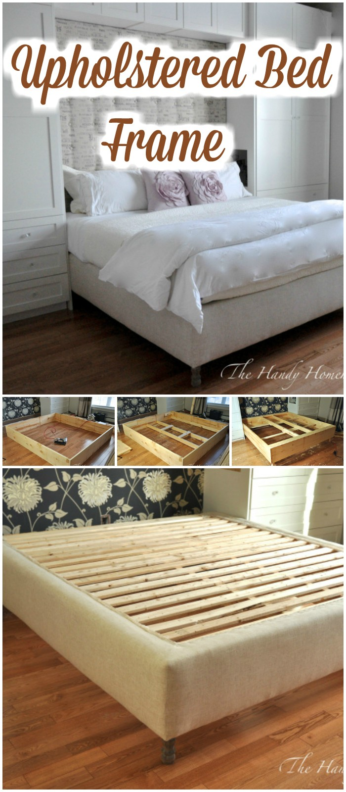 Upholstered Bed Frame - diy bed frame - DIY Bed Plans -diy bed