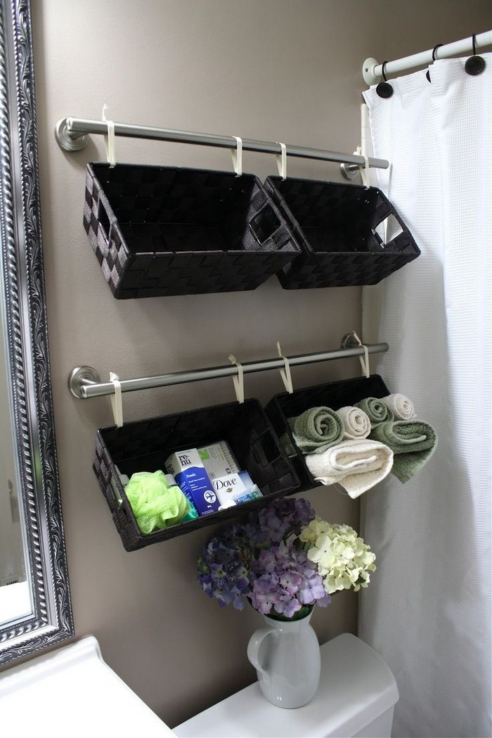 Wall Full of Baskets DIY Bathroom Organization And Storage Ideas