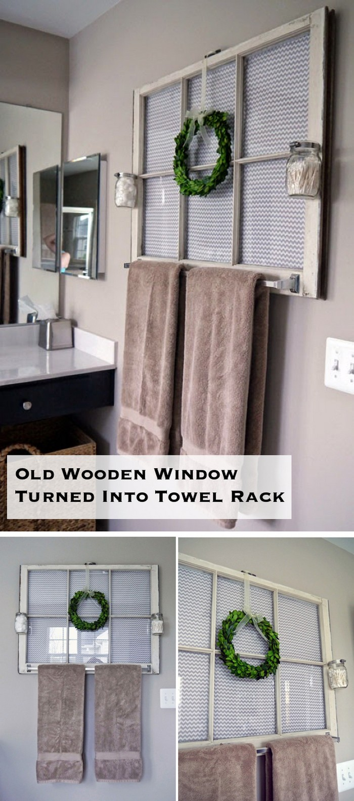 Window Turned Into Towel Rack