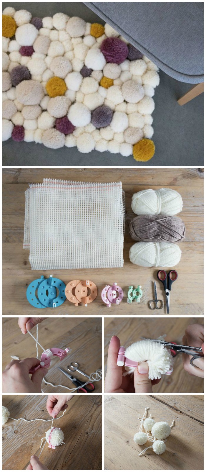 DIY Adorable Pom Pom Rug